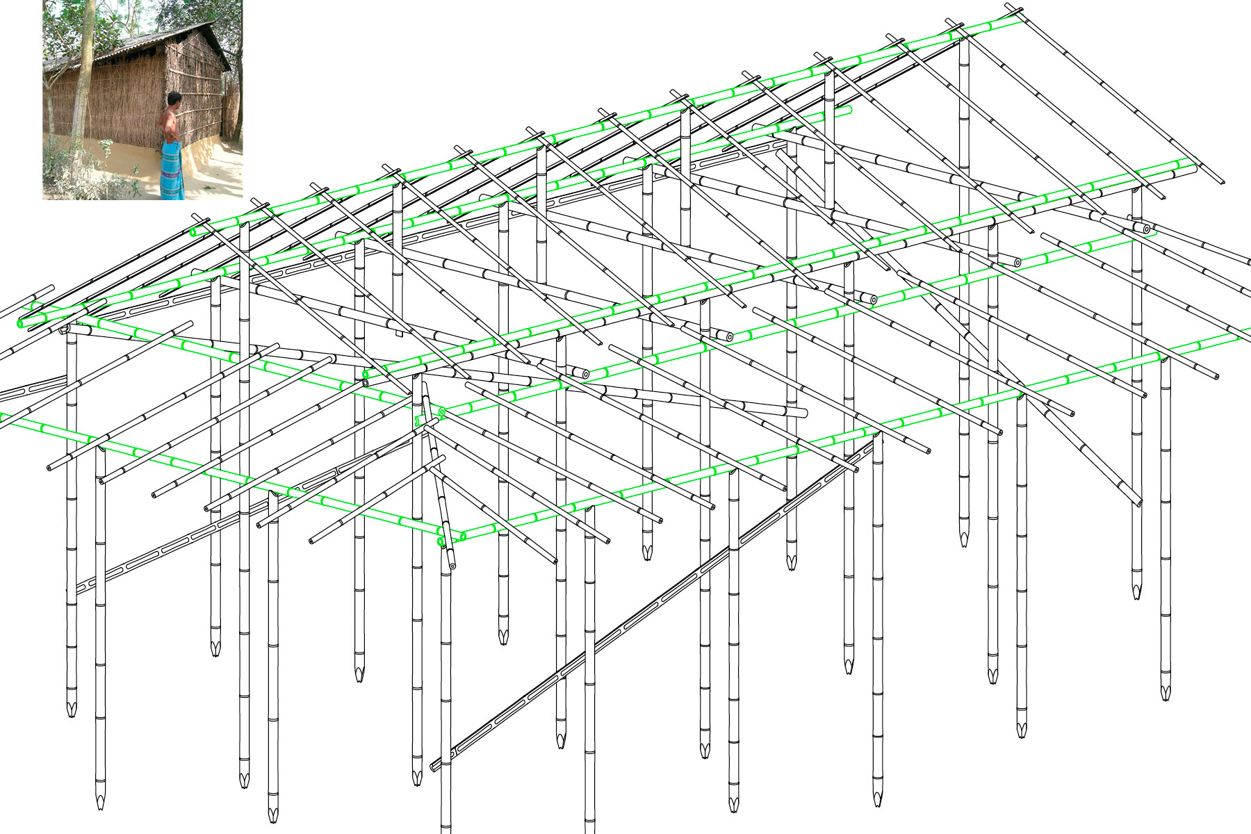 Structure of a bamboo house near the Sundarbans