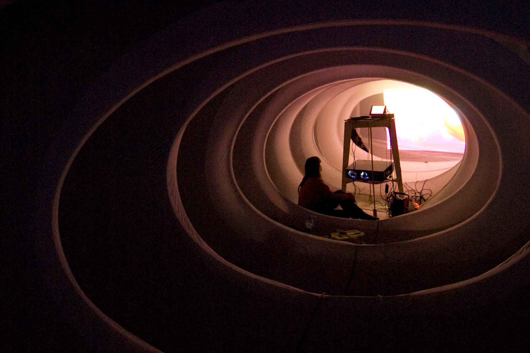 A projectionist sits within the sock — Photo: Johnny Gao