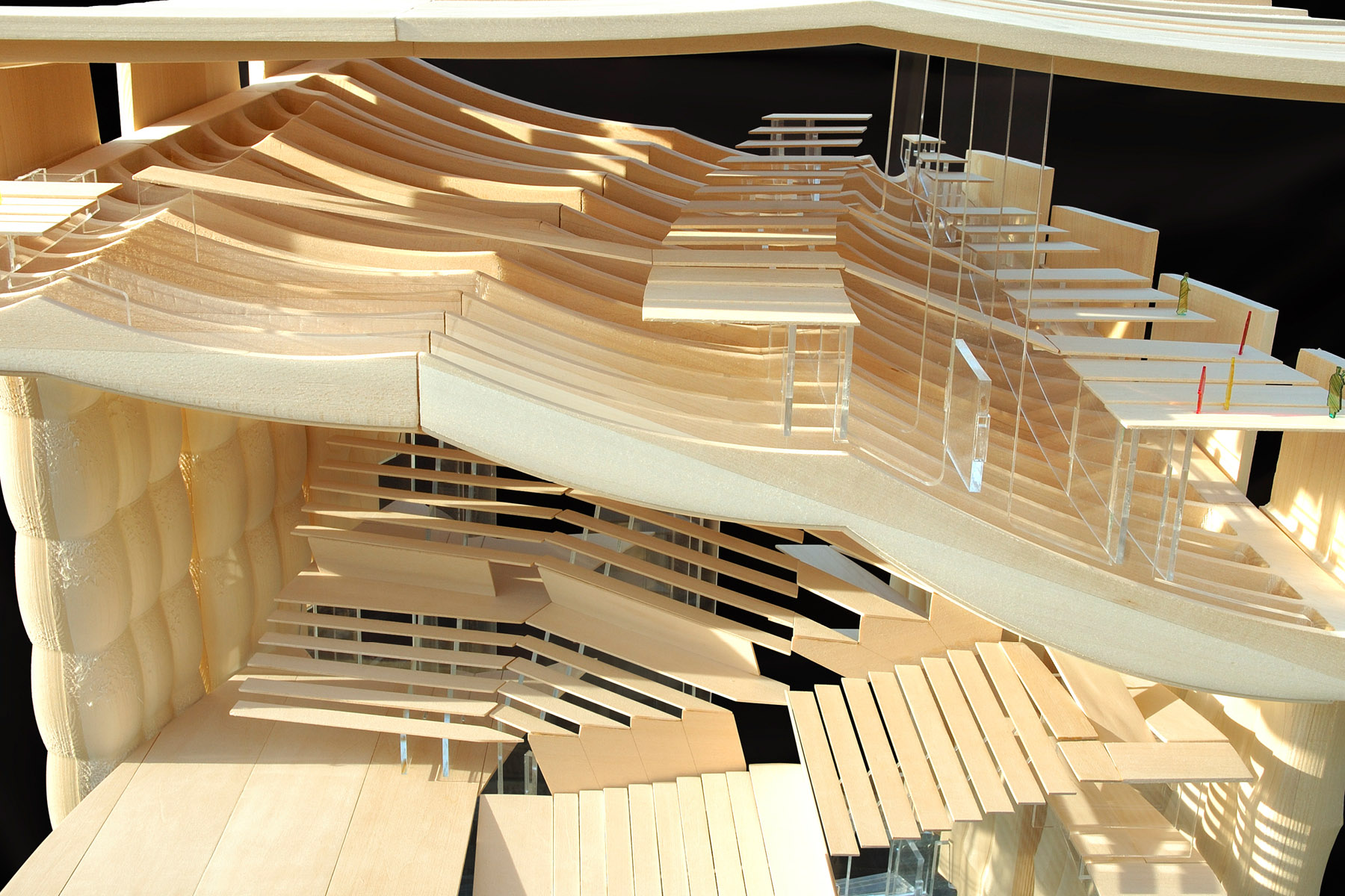 Timber model of the auditorium