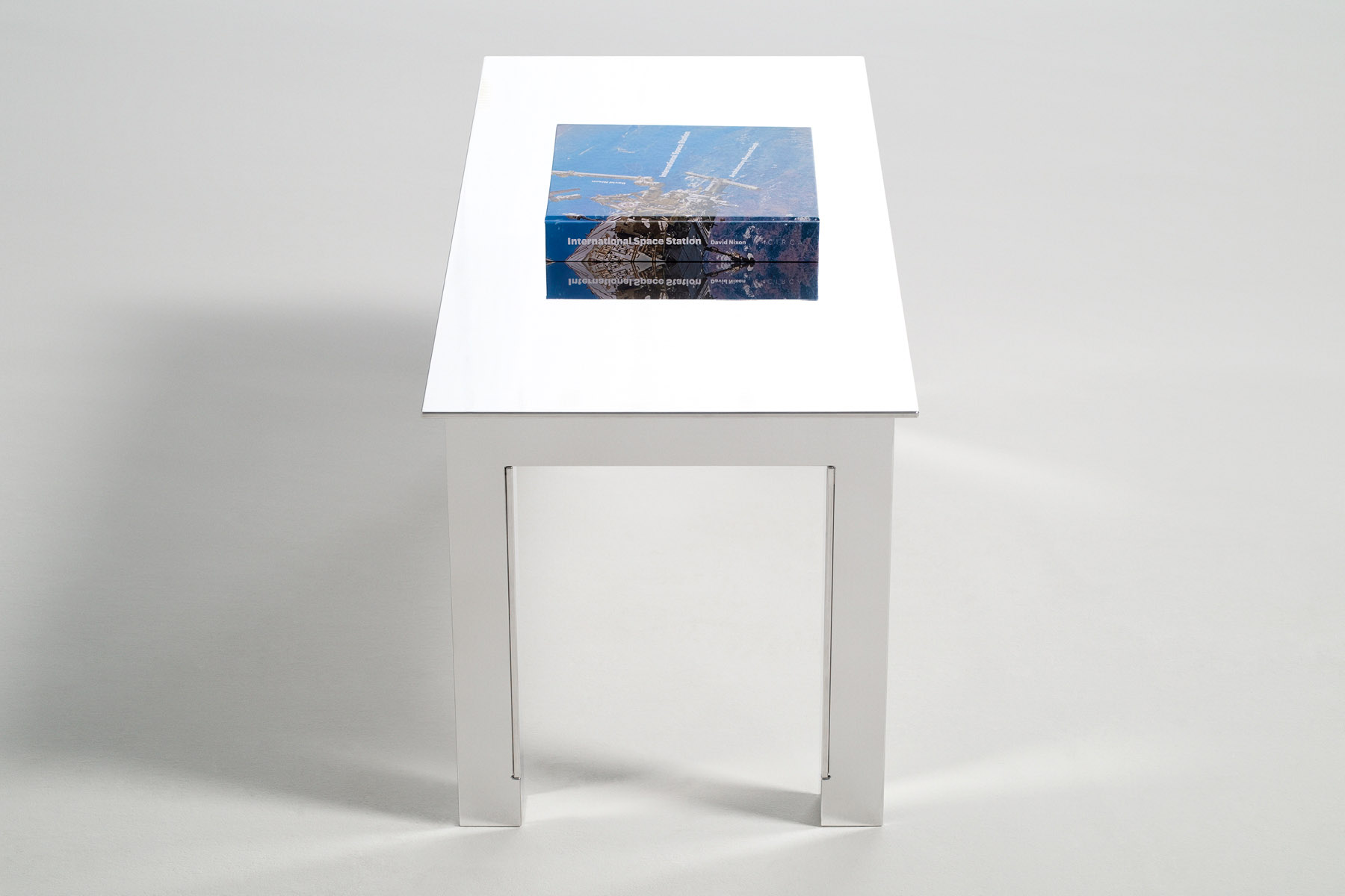 Aluminium coffee table seen from the side