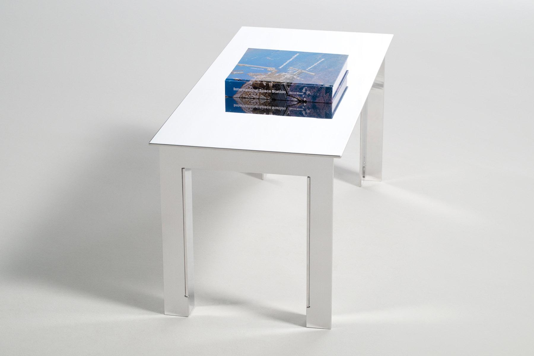Aluminium coffee table seen at an angle