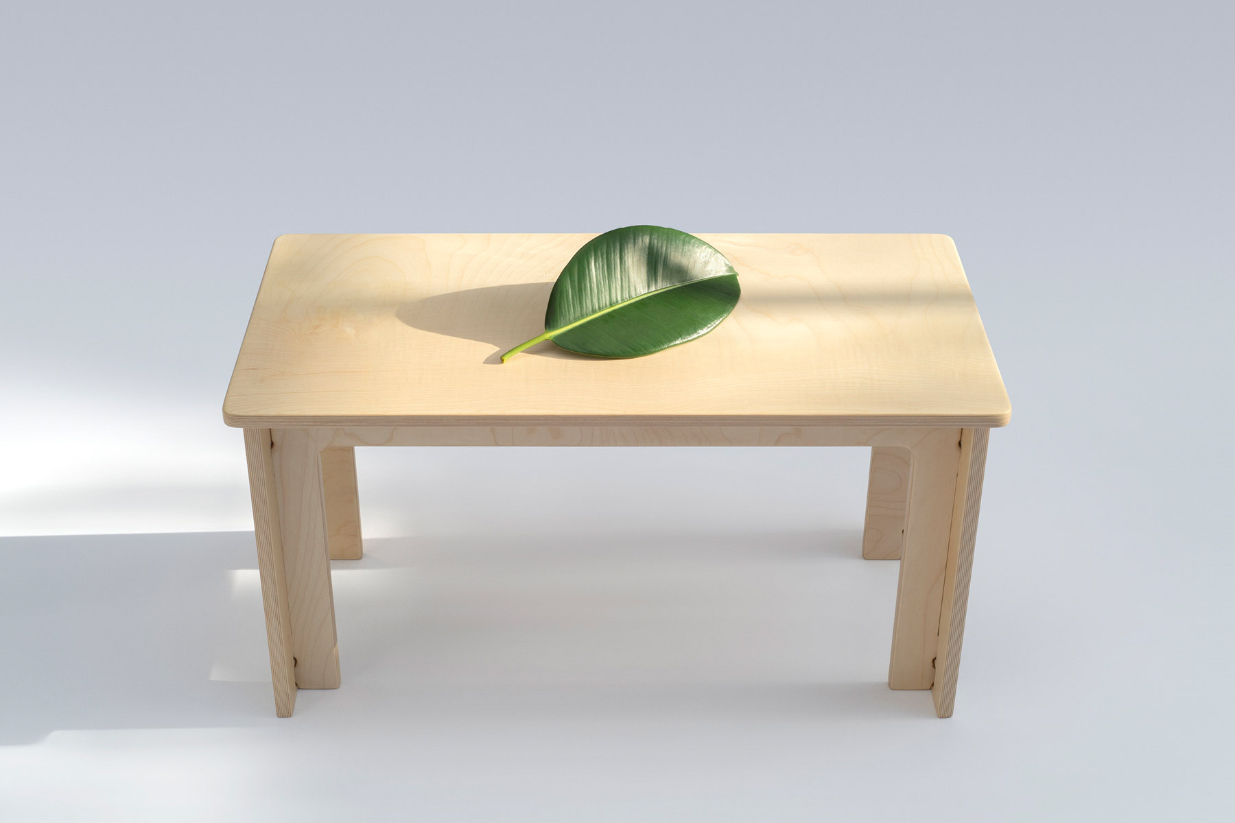 Maple coffee table without fasteners, a sustainable product