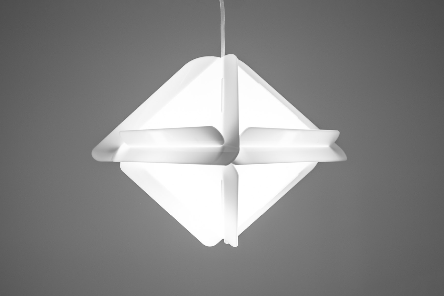 Triangular lamp suspended