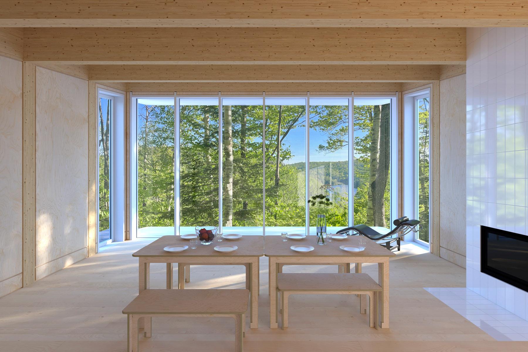 Salle de séjour avec vue sur le lac