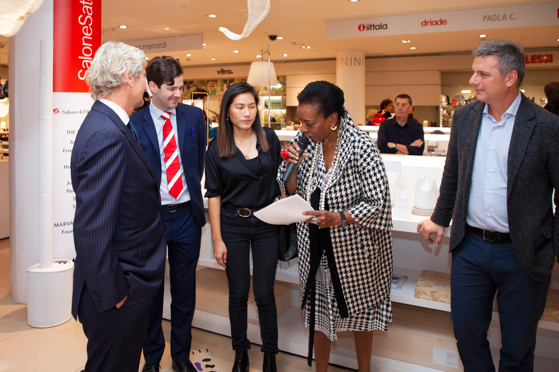 Claudio Luti, Jean-François C. Lemay, Mirei Monticelli, Marva Griffin Wilshire and Pierluigi Cocchini at the opening on 17 October 2019
